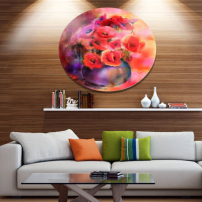 Designart Bouquet Of Cute Poppies in Vase Large Floral Metal Circle Wall Art
