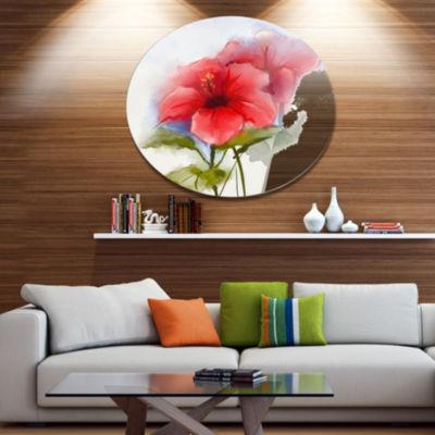 Designart Watercolor Painting Red Hibiscus FlowerLarge Floral Metal Circle Wall Art