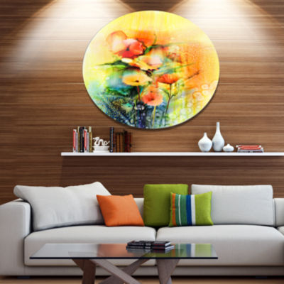 Designart Colored Watercolor Flowers on Yellow Large Floral Metal Circle Wall Art