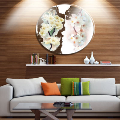 Designart White Flower Bouquet Illustration ExtraLarge Floral Wall Art