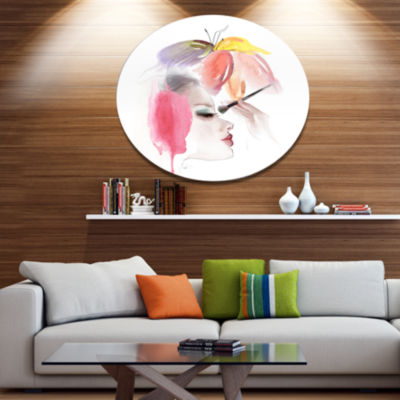 Designart Eye Lash Face Woman Cosmetic Portrait Metal Circle Wall Art