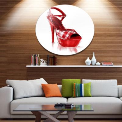 Designart Red High Heel Women s Shoe ContemporaryMetal Circle Wall Art