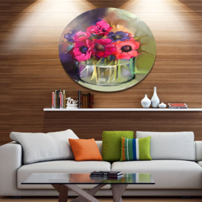 Designart Red Anonymous Flower Bouquet Large Floral Metal Circle Wall Art