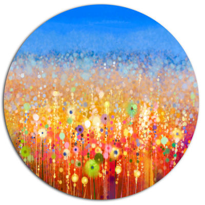 Designart Abstract Flower Field Watercolor Painting Large Floral Metal Circle Wall Art
