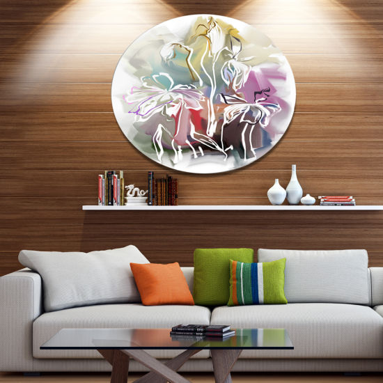 Designart Bunch of Abstract Textured Flowers ExtraLarge Floral Wall Art