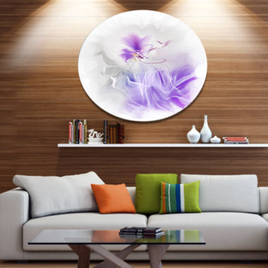 Designart Abstract Painted Blue Floral Design Extra Large Floral Wall Art