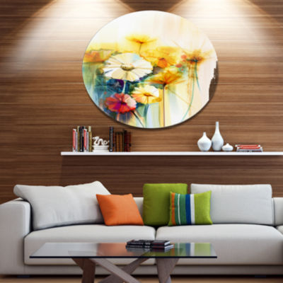 Designart Bunch of White Yellow Flowers Large Floral Metal Circle Wall Art