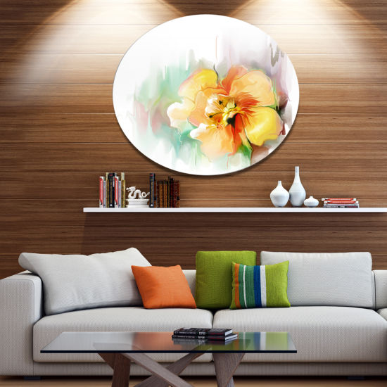 Designart Beautiful Yellow Flower Drawing Extra Large Floral Wall Art