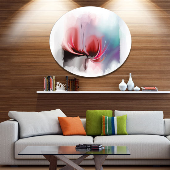 Designart Red Abstract Flower Illustration Extra Large Floral Wall Art