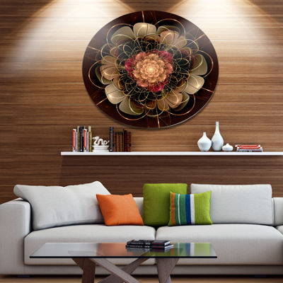 Designart Dark Gold Red Fractal Flower Pattern Extra Large Floral Wall Art