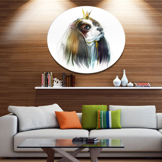 Designart Cute Little Dog in Crown Animal Metal Circle Wall Art