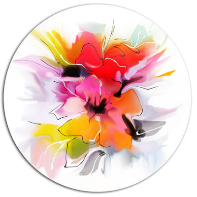 Designart Colorful Abstract Flowers on White ExtraLarge Floral Wall Art