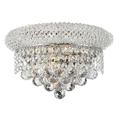 "Empire Collection 2 Light Clear Crystal Wall Sconce Light 12"" W x 6"" H Medium"""