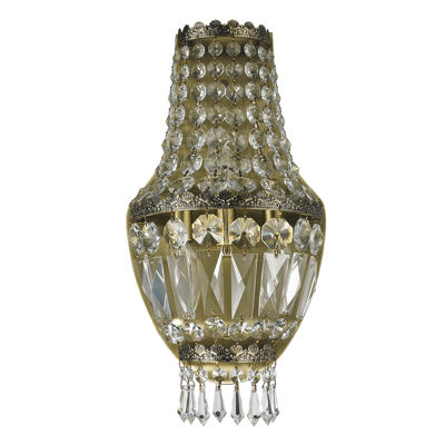 "Metropolitan Collection 3 Light Antique Bronze Finish and Clear Crystal Basket Wall Sconce 8"" W x 16"" H Small"""