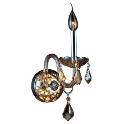 "Provence Collection 1 Light Chrome Finish and Crystal Candle Wall Sconce 4"" W x 15"" H Small"""