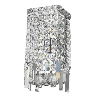 "Cascade Collection 2 Light Chrome Finish Crystal Rectangular Wall Sconce  6"" W x 13"" H ADA"""