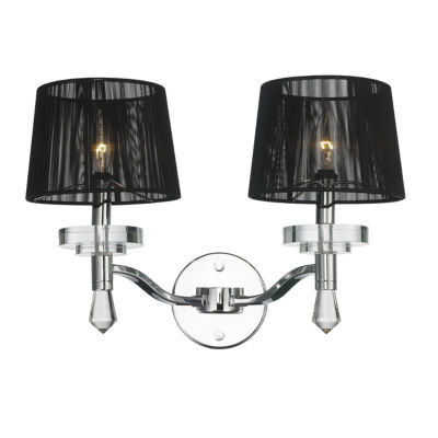"Gatsby Collection 2 Light Arm Chrome Finish and Clear Crystal Wall Sconce with Black String Shade 17"" W x 13"" H Large"""