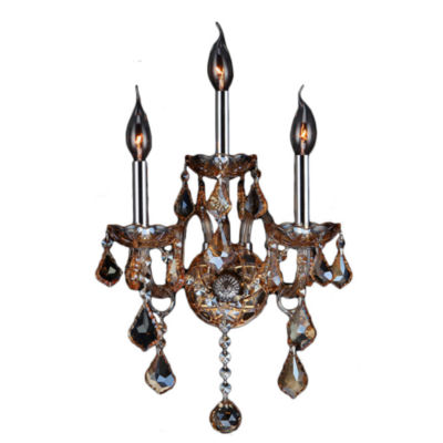Provence Collection 3 Light 2-Tier Chrome Finish and Crystal Candle Wall Sconce