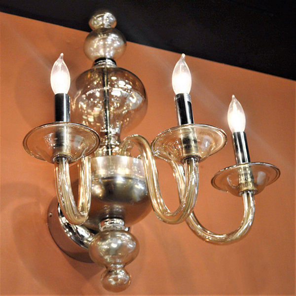 "Murano Collection 3 Light Chrome Finish and GoldenTeak Crystal Wall Sconce 16"" W x 18"" H Large"""
