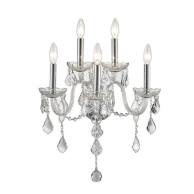 """Provence Collection 5 Light Chrome Finish and Clear Crystal Candle Wall Sconce 13"""" W x 18"""" H MediumTwo 2 Tier"""""""