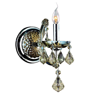 "Lyre Collection 1 Light Chrome Finish and Golden Teak Crystal Candle Wall Sconce 6"" W x 14"" H Small"""