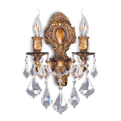 "Versailles Collection 2 Light French Gold Finish Crystal Candle Wall Sconce 12"" W x 13"" H Medium"""
