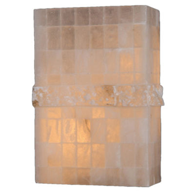 "Pompeii Collection 1 Light Flemish Brass Finish Natural Quartz Stone Wall Sconce 8"" W x 12"" H SmallADA"""