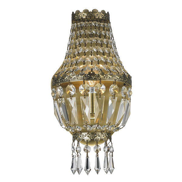 "Metropolitan Collection 1 Light Antique Bronze Finish and Clear Crystal Basket Wall Sconce 6"" W x 12"" H Small"""