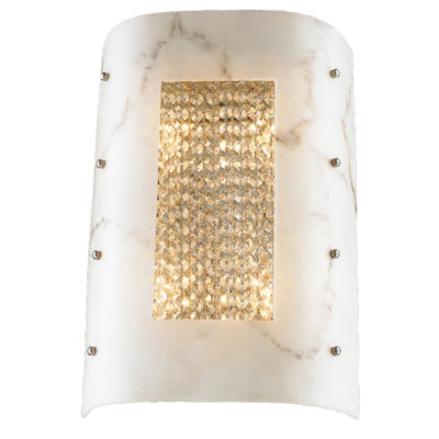 "Dulles Collection 4 Light Faux Alabaster Shade Crystal Wall Sconce 12"" W x 18"" H Medium ADA"