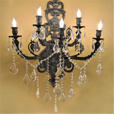 "Versailles Collection 5 Light Crystal Wall Sconce19"" W x 32"" H Large Two 2 Tier"
