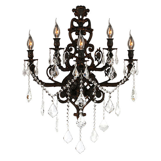 """Versailles Collection 5 Light Crystal Wall Sconce19"""" W x 32"""" H Large Two 2 Tier"""