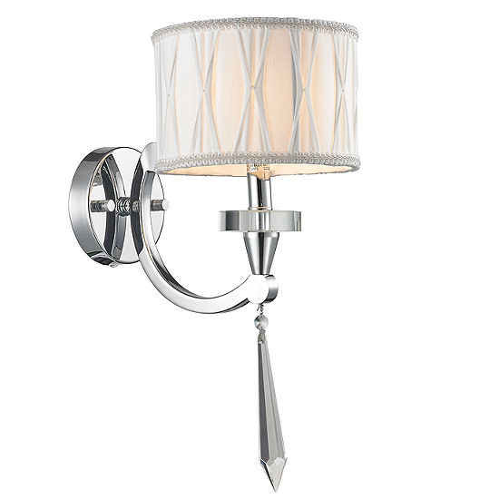 Gatsby Collection 1 Light Arm Chrome Finish And Clear Crystal Wall Sconce With White Fabric Shade