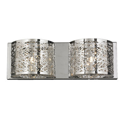"Aramis Collection 2 Light Chrome Finish and ClearCrystal Wall Sconce 20"" W x 7"" H Large"""