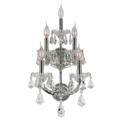 Maria Theresa Collection 5 Light 3-Tier Clear Crystal Candle Wall Sconce