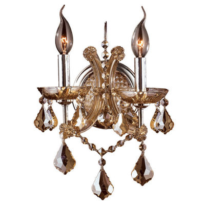Lyre Collection 2 Light Chrome Finish and CrystalCandle Wall Sconce Light
