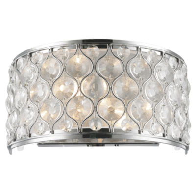 Paris Collection 2 Light Chrome Finish with Clear Crystal Wall Sconce