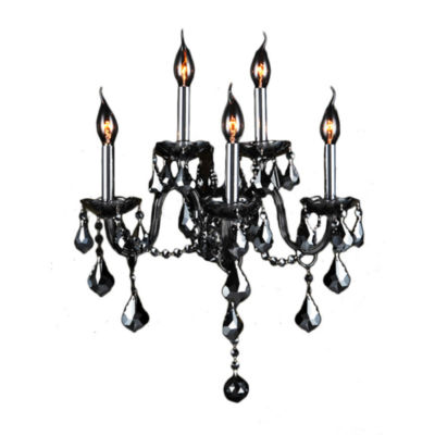"Provence Collection 5 Light Chrome Finish and Smoke Crystal Wall Sconce 13"" W x 18"" H Medium Two 2 Tier"""