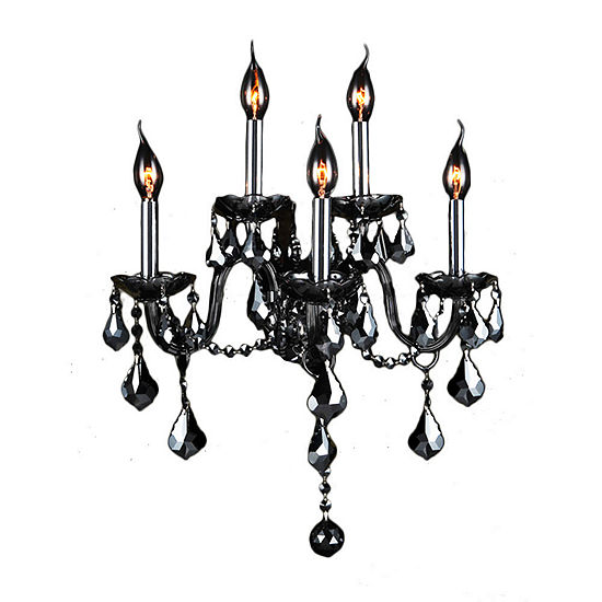 """Provence Collection 5 Light Chrome Finish and Smoke Crystal Wall Sconce 13"""" W x 18"""" H Medium Two 2 Tier"""