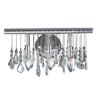 """Nadia Collection 3 Light Chrome Finish and Clear Crystal Vanity Wall Sconce 16"""" W x 10"""" H Large"""