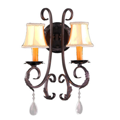 "Abigail Collection 2 Light Flemish Brass Finish Crystal Wall Sconce with Orange Gold Candle and BellShade 13"" W x 20"" H Medium"""