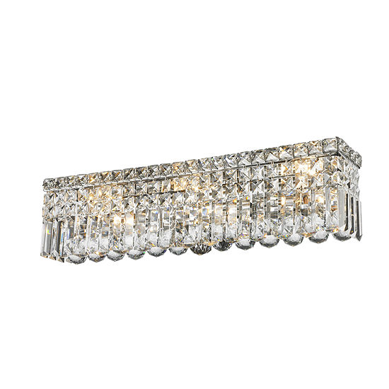 """Cascade Collection 6 Light Chrome Finish Crystal Vanity Light 24"""" Wide ADA"""