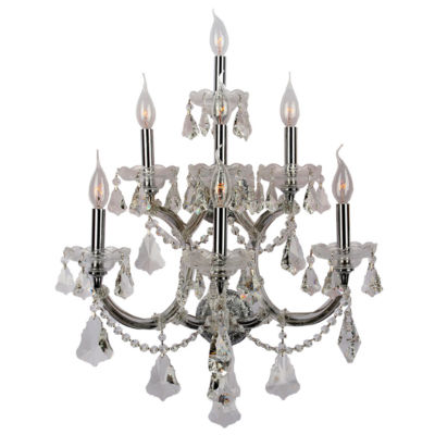 Maria Theresa Collection 7 Light 3-Tier Clear Crystal Candle Wall Sconce