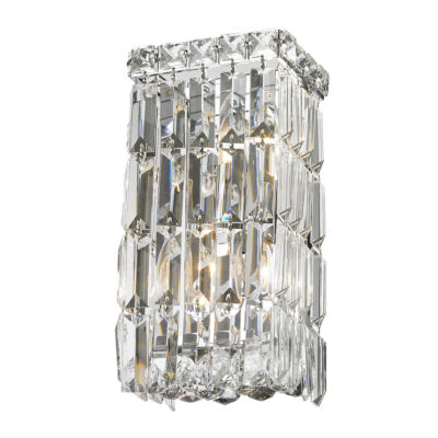 "Cascade Collection 2 Light Chrome Finish Crystal Rectangular Wall Sconce 6"" W x 12"" H Small ADA"""