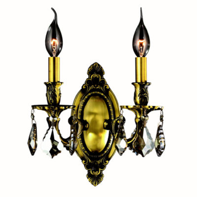 "Windsor Collection 2 Light Antique Bronze Finish &Golden Teak Crystal Candle Wall Sconce Cast Brass9"" W x 10.5"" H Medium"""