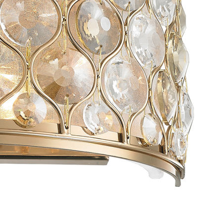 "Paris Collection 2 Light Clear and Golden Teak Crystal Wall Sconce W12""H6"""