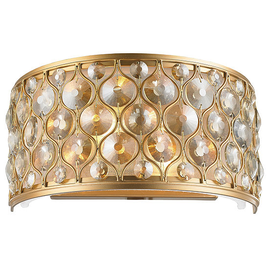 """Paris Collection 2 Light Clear and Golden Teak Crystal Wall Sconce W12""""H6"""""""