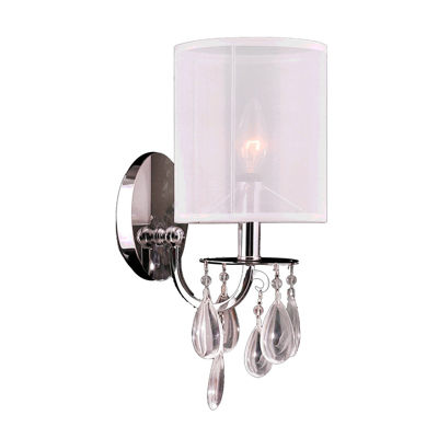 "Gatsby Collection 1 Light Chrome Finish Crystal Wall Sconce with White Organza Shade 6"" W x 13"" H Small"""