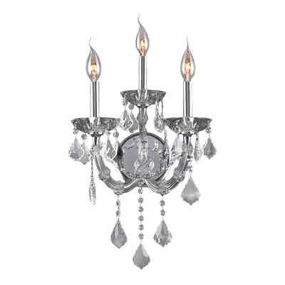 "Lyre Collection 3 Light Chrome Finish and Clear Crystal Candle Wall Sconce 12"" W x 20"" H Medium Two2 Tier"
