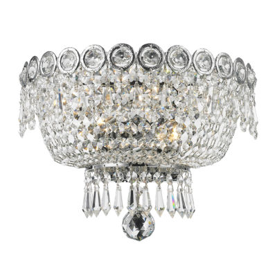 "Empire Collection 2 Light Clear Crystal Wall Sconce 12"" W x 8"" H Medium"""