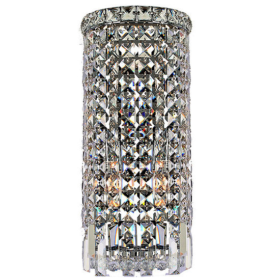 """Cascade Collection 2 Light Chrome Finish Crystal Rounded Wall Sconce 8"""" W x 18"""" H ADA"""""""
